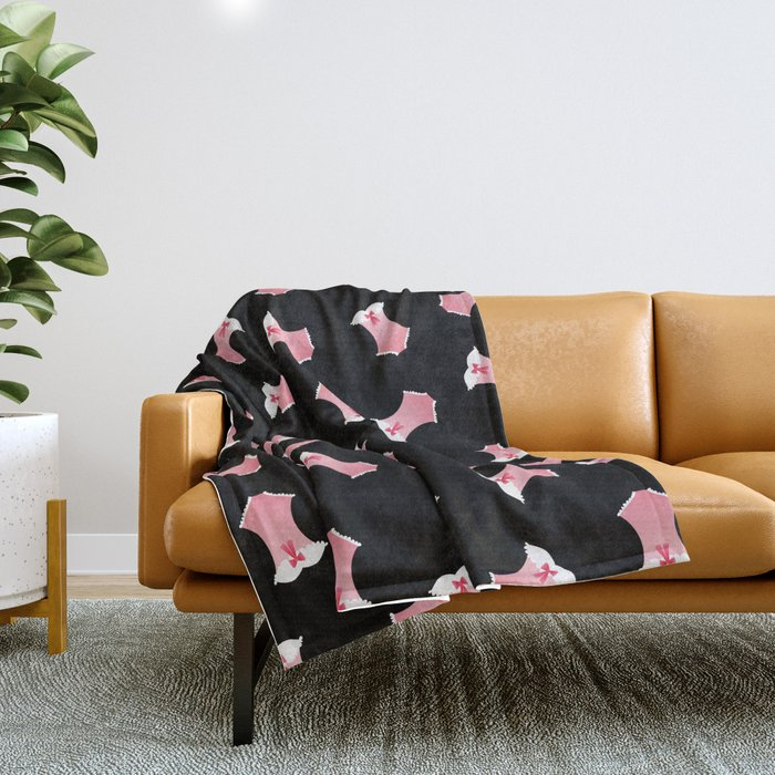 Cute Pink Corsets Throw Blanket