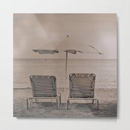 The loneliness of the deck chairs - La soledad de las tumbonas Metal Print