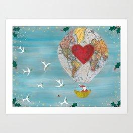 Christmas Santa Claus in a Hot Air Balloon for Peace Art Print
