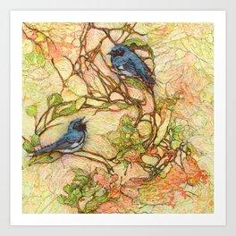 Lullaby (Black Throated Warblers) Art Print