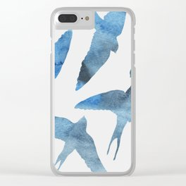 Watercolor birds - sapphire ink Clear iPhone Case