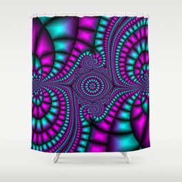 Purple and Teal Mosaic Fractal Shower Curtain