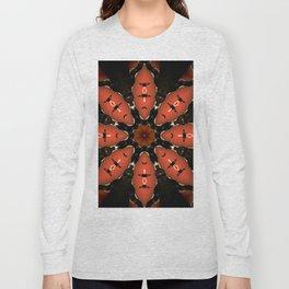 Orange Black Flower Mandala Design Long Sleeve T-shirt