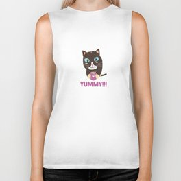 Cat with yummy Donut Biker Tank