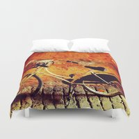 cycle Duvet Covers featuring Yellow Cycle by Emily Werboff