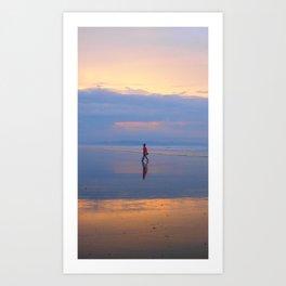 Man on beach Art Print