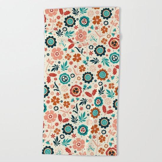 Folk Flowers Beach Towel