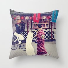 w a l k i n g i n t o k y o Throw Pillow
