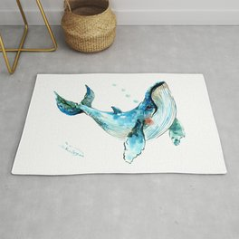 Humpback Whale Artwork Children Illustration Cute little Whale, whale design Rug