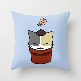 Potted Cat Throw Pillow