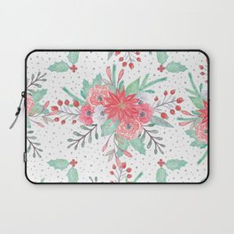Pretty watercolor Christmas floral and dots design Laptop Sleeve