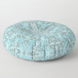 Soft Teal Blue & Grey hand drawn floral pattern Floor Pillow