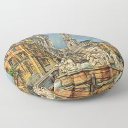 Piazza Navona fountain through oil without restoration Floor Pillow