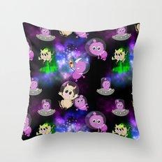 Aliens vs. Cows Throw Pillow