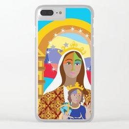 Virgen de Coromoto con Bandera Clear iPhone Case