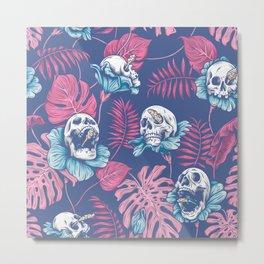 SKULLS & ROSES (Pink) Metal Print