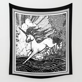 Mystic Running Unicorn In Meadow B&W Drawing Wall Tapestry