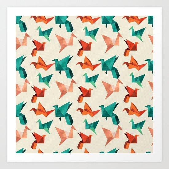 teal paper cranes Art Print