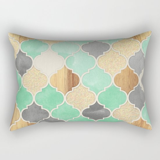 Charcoal, Mint, Wood & Gold Moroccan Pattern Rectangular Pillow