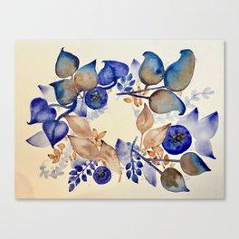 Blueberry Gold Leaf Wreath Canvas Print