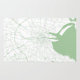 White on Green Dublin Street Map Rug