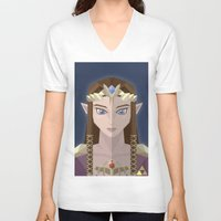 hyrule V-neck T-shirts featuring The Princess of Hyrule by John Mehrkens