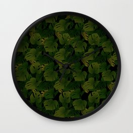 Monstera (Jungle) - Olive x Black Wall Clock