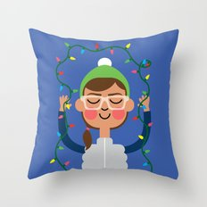 Holiday with Lights Throw Pillow