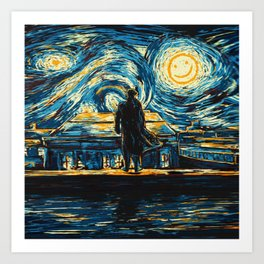 Starry Night Sherlock Holmes Art Painting Art Print