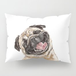 Happy Laughing Pug Pillow Sham