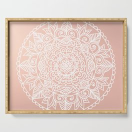 White Mandala on Rose Gold Serving Tray