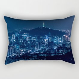 AREAL VIEW WITH CITY DURING NIGHTTIME Rectangular Pillow