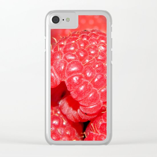 Red Raspberries Freshly Picked Clear iPhone Case