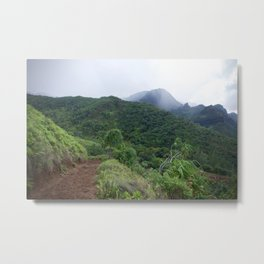 Misty Mountain Hike Metal Print