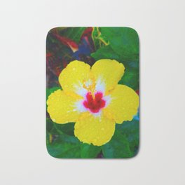 Rain Kissed Yellow Hibiscus Bath Mat