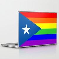 puerto rico Laptop & iPad Skins featuring puerto rico gay people homosexual flag rainbow by tony tudor