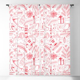 Doodle Christmas pattern red Blackout Curtain