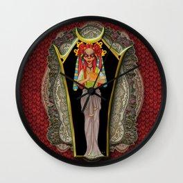 Clown Priestess in magical coffin Wall Clock