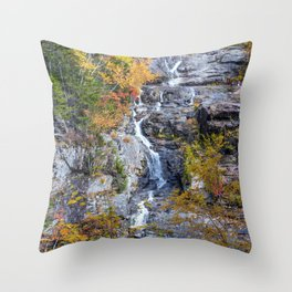 Silver Cascade Waterfall autumn Throw Pillow