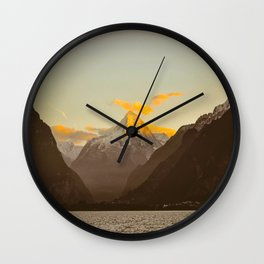 MidCentury Modern Circle Photo Parallax Mountains Distant Snow Capped Mountain With Yellow Tip Wall Clock