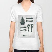 bones V-neck T-shirts featuring Bones by Carrianne Bullard