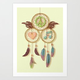 Peace, Love and Music Art Print