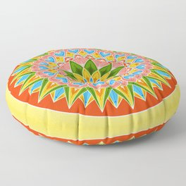 Costa Rica Folk Pattern – Decorated painting wheel of coffee ox cart Floor Pillow
