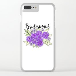 Bridesmaid Wedding Bridal Purple Violet Lavender Roses Watercolor Clear iPhone Case