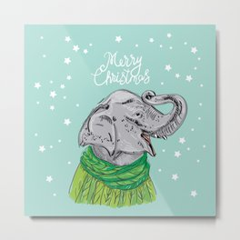 Merry Christmas New Year's card design Elephant head with a raised trunk in a knitted sweater Metal Print