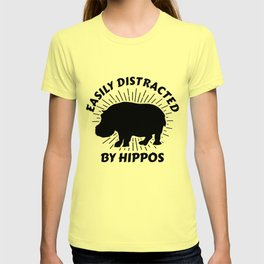 Funny Hippopotamus Distracted By Hippos Animal Lovers T-shirt