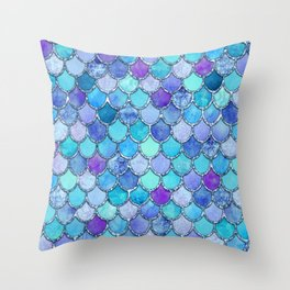 Colorful Blues Mermaid Scales Throw Pillow