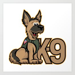 K-9 Dog Cartoon Illustration Art Print