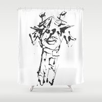 sassy Shower Curtains featuring Sassy Giraffe by Bany Hope