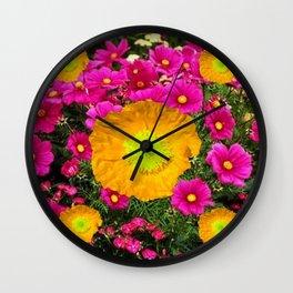 FUCHSIA GOLDEN YELLOW POPPY FLOWERS GARDEN Wall Clock